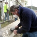 Mark working on the concrete plinth