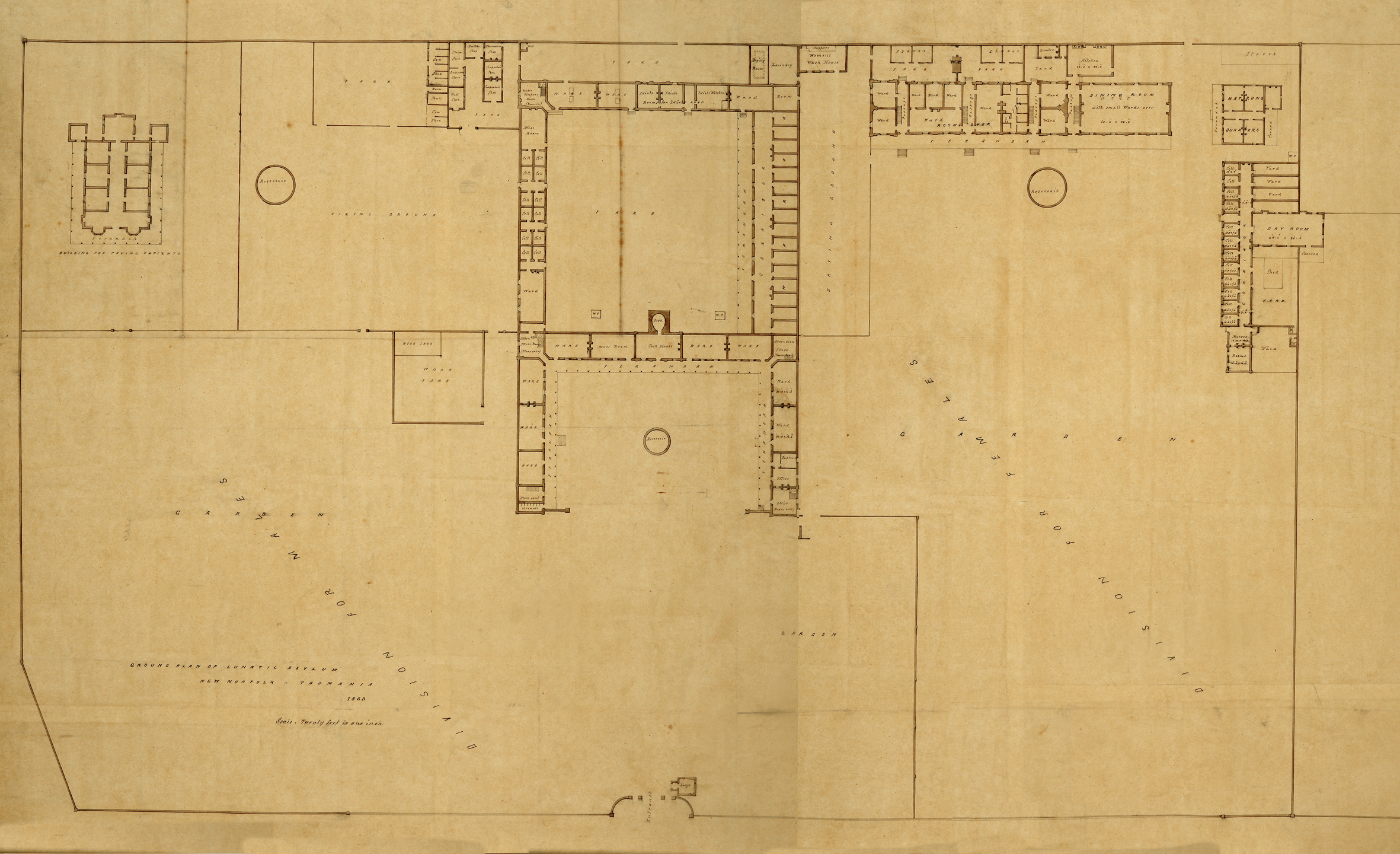 Maps plans and aerial views willow court history group mr1 1760 lunatic asylum new norfolk tasmania 1863sml malvernweather Images